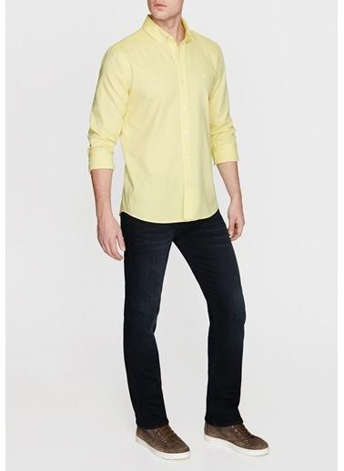 Mavi Cepsiz Gömlek Sarı